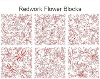 Redwork Flower Blocks Quilt Heirloom Machine Embroidery Designs Instant Download 4x4 5x5 6x6 hoop 10 designs APE2489