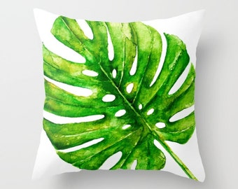 Monstera Leaf pillow with insert Cover - Tropical Leaf pillow with insert Cover - Modern Decor - Beach Decor - Tropical Decor - Aldari Home