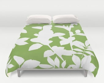 Green Duvet Cover - Green and White Botanical Duvet Cover - Green Bedding - Full Queen King - Greenery Decor - Aldari Home