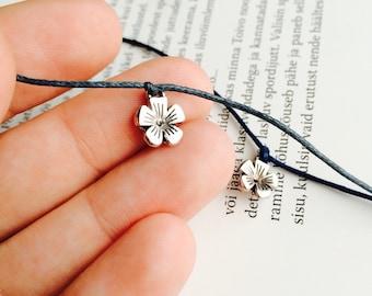 Wish bracelet with flower charm, Friendship bracelet, String bracelet, charm bracelets
