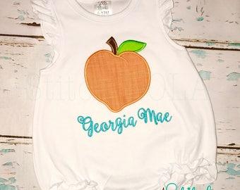 Peach Shirt, Bubble, Romper or Bodysuit, Peach Applique, Lemonade Shirt, Georgia Peach
