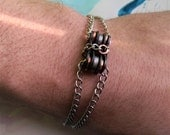 CHAINED: Bike Chain Bracelet, Limited CONCAVE Run, Stainless Steel and Copper with Upcycled Bike Chain linkage