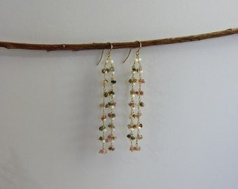 Tourmaline and Pearl 24K Gold Plated Dangle Earrings