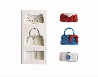 Fashion Bags Silicone Mold, Handbags Silicone Mold, Purses Silicone Mold, Girly Silicone Mold, Silicone Mold, Fashion Silicone Mold