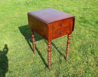 Gorgeous Hall Cabinet Side Table Leaf Drop Barley Twist Drawers Very rare