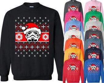 STORMTROOPER Santa CREWNECK Sweatshirt Funny Ugly Christmas Sweater Crewneck Xmas Party Sweatshirt Crewneck