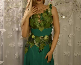 Adult fairy Queen costume dress,Woodland fairy dress,Green fairy gown with leaves, fairy festival costume dress, Forest fairy