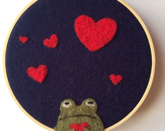 "Needle felted Valentines Day art , frog art, Wool ""painting """