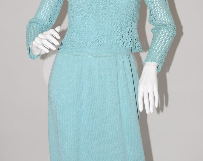 Vintage Estate Dana Hagan Blue Knit Dress