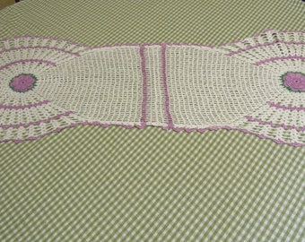Handmade Vintage Crocheted Dresser Scarf or Couch Back Cover Lavender, White, and Green