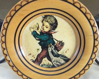 Vintage Hummel Round Wooden Plaque Boy w/ Geese