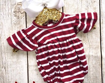 Maroon Striped Bubble, Ruffles, Bubble, Baby Girl, Monogrammed, Personalized