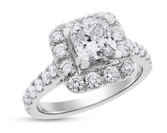 2.12 Ct. Authentic Neil Lane Engagement Ring Halo Princess Cut 14k White Gold