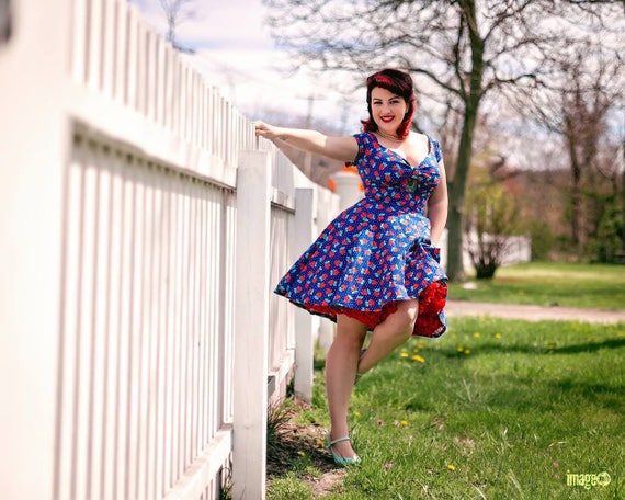 Floral Polka Dot Peekaboo Keyhole Swing Dress