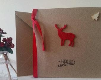 Reindeer Christmas Card - Red Reindeer Card - Merry Christmas Card - Handmade Christmas Card - Felt Reindeer
