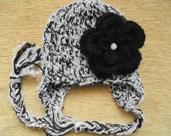 Wool baby hat Baby earflap hat Baby girl winter hat Newborn girl hat Baby winter outfit Black and white baby hat Crochet earflap hat