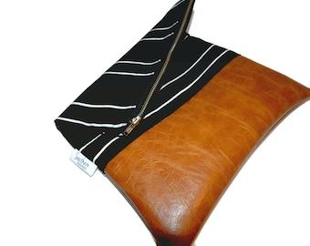 Black foldover clutch, vegan leather clutch, iPad case, Kindle case