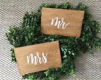 Mr and Mrs Chair Signs - Rustic Wood Signs - Golden Oak Stain - Wedding Signs