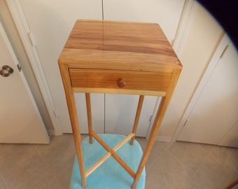 Hickory Wood Handcrafted Accent Table w/drawer