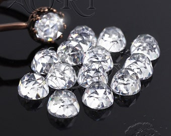 1pcs AAAAA 6mm White Cubic Zirconia, Rose Cut, Flat Back Cubic Zirconia, Round Shape, White Cubic Zirconia, SA01R, Height 4.1mm
