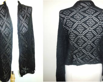 Vintage Crochet Shawl Black Long Scarf Knit Wrap Warm Lady's Retro Fashion Accessories