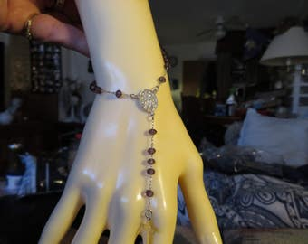 Handcrafted Genuine 15.0ctw Amethyst Rosary Bead Jesus Cross Stelring Silver Bracelet 7 Grams, 7.25 to 8.25 IN Adjustable