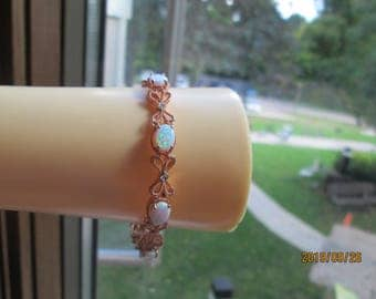 "Handcrafted Art Nouveau 8.00ct Genuine Fiery Opal & Diamond 14KT Rose Gold over 925 Sterling Silver Bracelet 7.25"", Wt. 13 G"