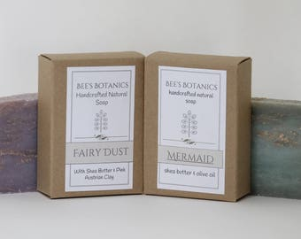 MAGICAL DUO Mermaid and Fairy Dust Homemade Soap, BeesBotanics all Natural Soap, Guest Soap, Natural Luxury Artisan Soap, Facial Soap