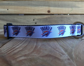 "Oklahoma City Dog Collar, Thunder Dog Collar, Basketball Dog Collar, Quick Release Buckle, 1"" Wide"
