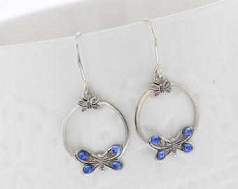 Sterling Silver Butterfly Blue Crystal Dangle Earrings, Swarovski Crystal, Sterling Silver, Dangle Earring. Dainty, Butterfly, Romantic