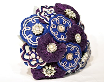Purple, Blue and pearl bridal bouquet / felt hand embroidered wedding flowers / everlasting bouquet / Bridal heirloom