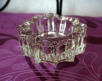 Vintage Thick Glass Ashtray Starburst Design