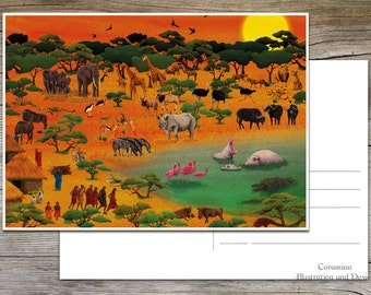 Postcard Serengeti africa limited edition