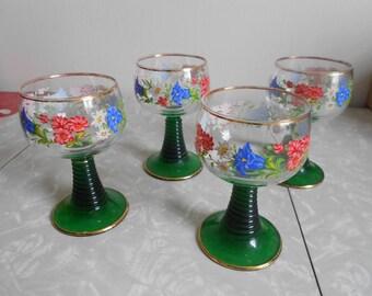 Vintage Flowered Goblets