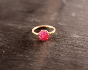 Hot Pink Druzy Hammered Ring (Gold Sterling Silver Rose Gold Drusy Quartz Stacking Ring Gifts Under 50)