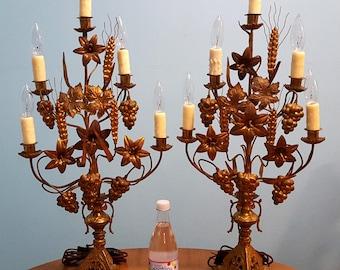 Pr Antique French Altar Brass & Bronze Gilt Tole Electrified Candelabras