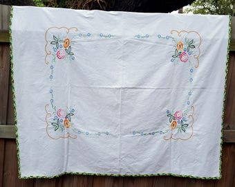 """Hand Embroidered Crocheted Tablecloth 62""""x52"""""""