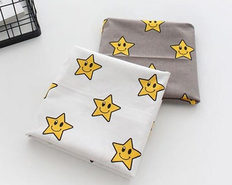 Smiling Stars Pattern Pink Cotton Fabric by Yard - 2 Colors Selection