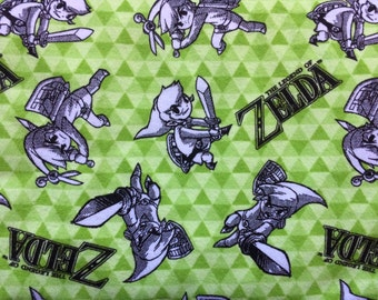 Fabric by the 1/2 Yard - The Legend of Zelda - Link Sketch Flannel