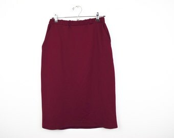 1980s Vintage Crimson Red Polyester Skirt with Pockets