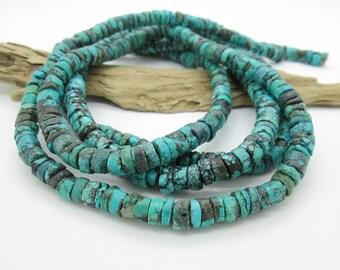 Blue Turquoise Rough Heishi Beads, Hubei Turquoise Disc Bead, 7-8x3-5mm (50)