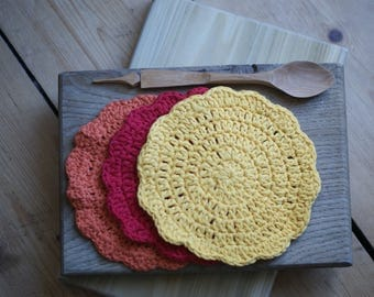 Snapdragon - pure cotton crocheted dish cloths or wash cloths (set of 3)