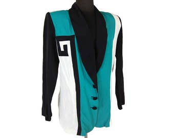 Vintage 1980s Tarazzia Green / Black / White Colorblock Blazer (Size Medium)