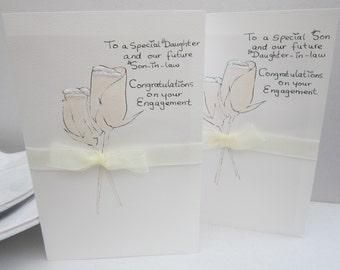 Engagement card, daughter card, son card, Hand painted, daughter engagement card, son engagement card, handmade card, large card, keepsake