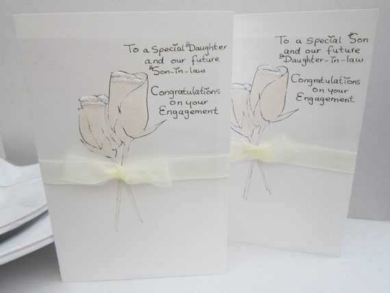 Engagement Card Daughter Son Hand Painted
