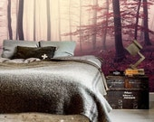 Forest photo wallpaper self adhesive wallpaper removable wallpaper wall mural dcor misty forest wallcovering landscape peel  stick  58