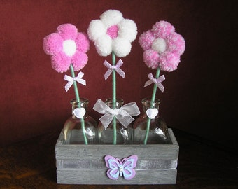 Trio Pom Pom Flower Set (Lilac Butterfly)