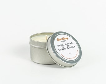 Vanilla Pear Travel Candle, Soy Wax Candle, Vegan Candle, Kosher Candle
