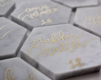 Marble Hexagon Tile - Place Cards
