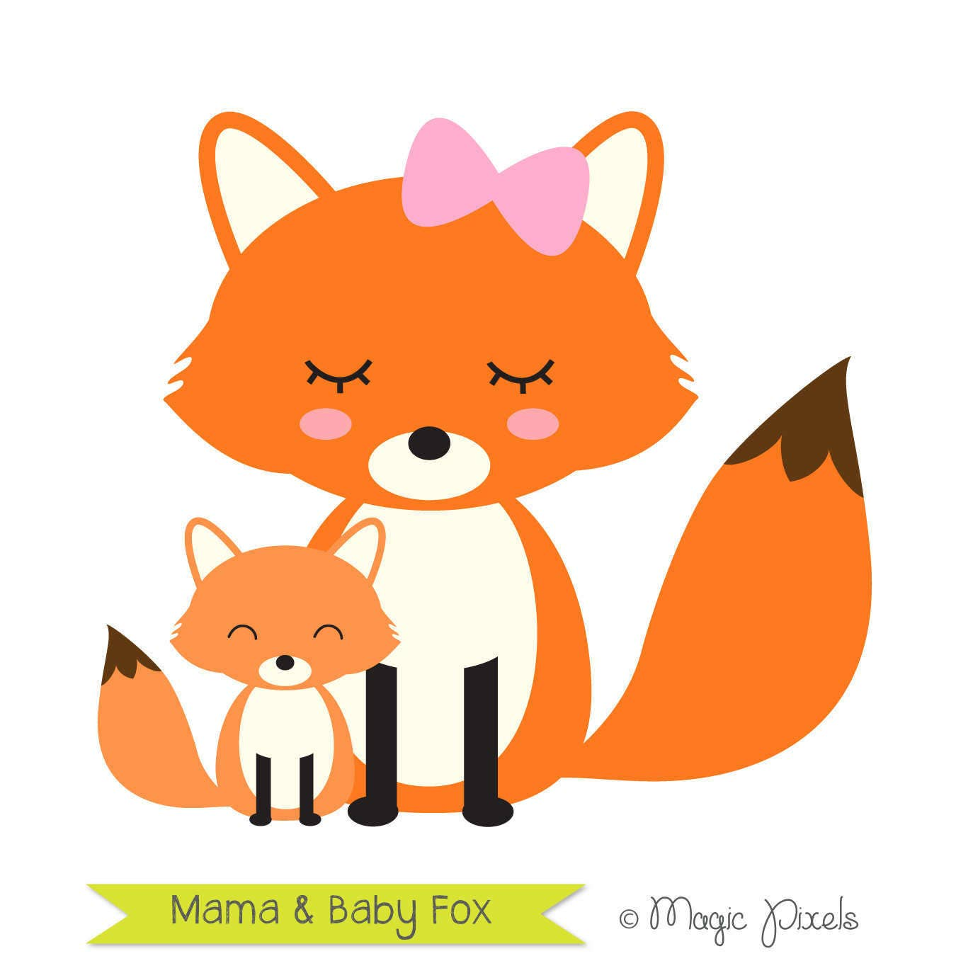 Fox clip art mama and baby fox clipart forest animals clip art commercial use clip art 1 png - Clipart renard ...
